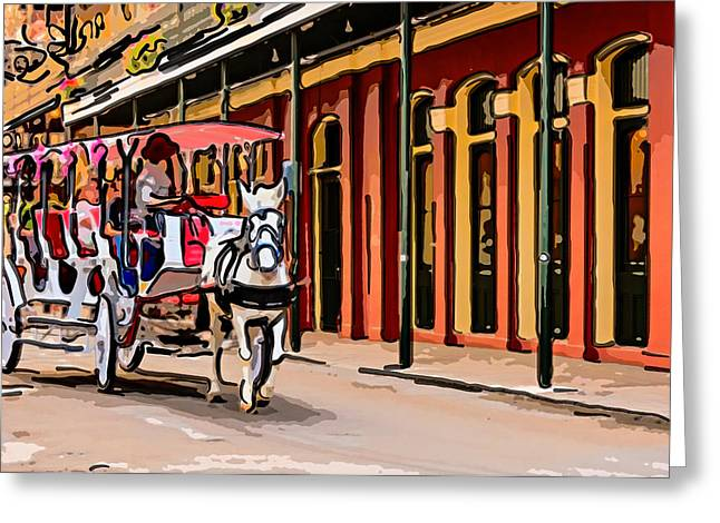 French Doors Digital Art Greeting Cards - French Quarter Carriage Ride 4 Greeting Card by Steve Harrington