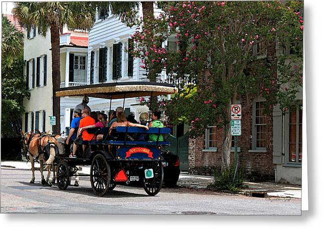Horse Buggy Digital Art Greeting Cards - French Quarter - Charleston SC Greeting Card by Suzanne Gaff