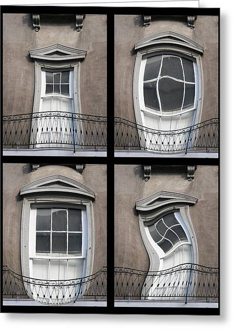 French Doors Greeting Cards - French Quarter Distorted Door Greeting Card by Kathy K McClellan