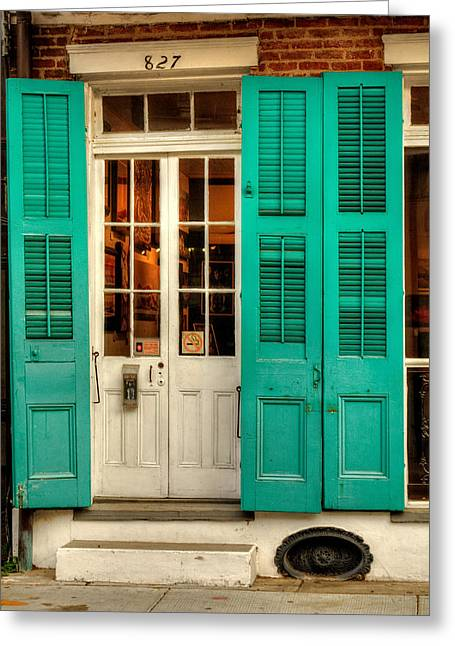 French Door Greeting Cards - French Quarter Double Doors Greeting Card by Chrystal Mimbs