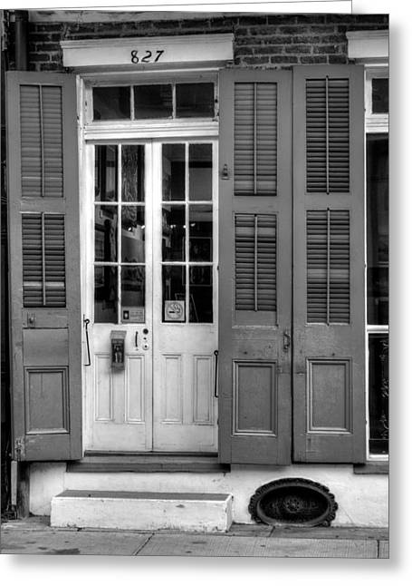 French Door Greeting Cards - French Quarter Double Doors in Black and White Greeting Card by Chrystal Mimbs