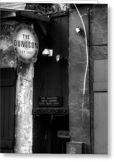 Dungeons Greeting Cards - French Quarter Dungeon in Black and White Greeting Card by Chrystal Mimbs