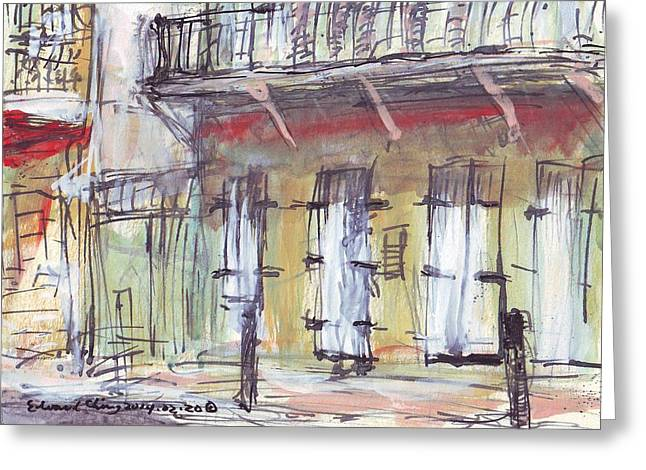 French Door Drawings Greeting Cards - French Quarter  Greeting Card by Edward Ching