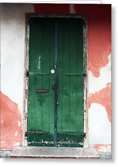 French Door Greeting Cards - French Quarter Green Greeting Card by John Rizzuto