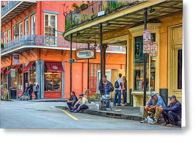 Hanging Out Greeting Cards - French Quarter - Hangin Out 2 Greeting Card by Steve Harrington