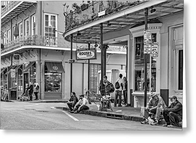 Hanging Out Greeting Cards - French Quarter - Hangin Out BW Greeting Card by Steve Harrington