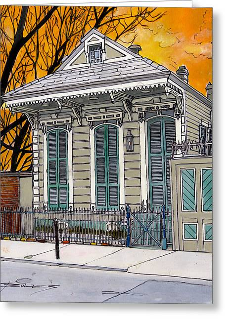 French Doors Greeting Cards - French Quarter House 381 Greeting Card by John Boles