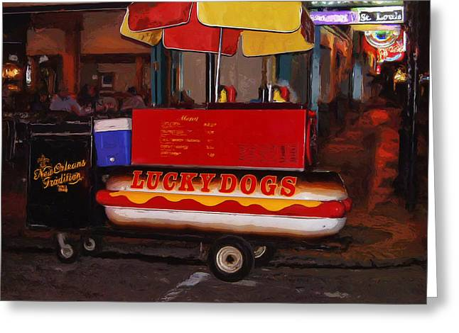 Lucky Dogs Paintings Greeting Cards - French Quarter Late at Night Greeting Card by Dominic Piperata
