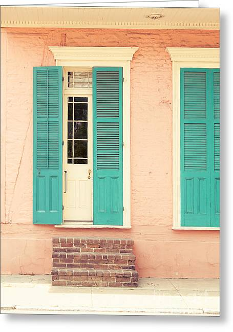 Historic Home Greeting Cards - French Quarter Pastel Colours  Greeting Card by Mary  Smyth