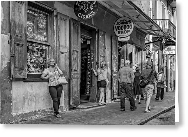 Voodoo Shop Greeting Cards - French Quarter - People Watching bw Greeting Card by Steve Harrington