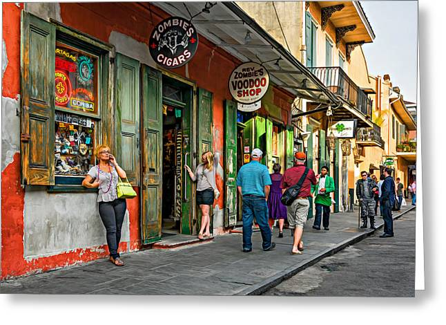 Voodoo Shop Greeting Cards - French Quarter - People Watching  oil Greeting Card by Steve Harrington