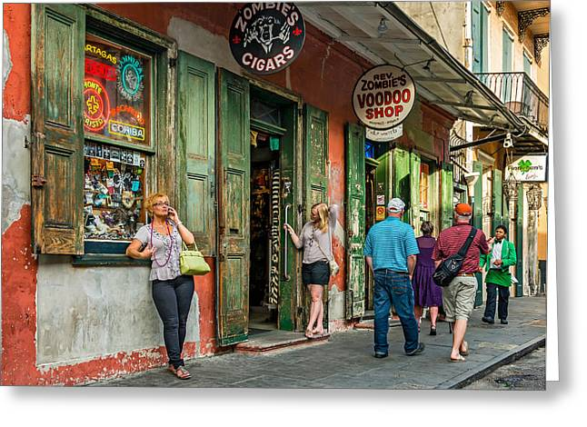 Voodoo Shop Greeting Cards - French Quarter - People Watching Greeting Card by Steve Harrington