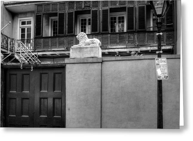 French Door Greeting Cards - French Quarter Quarters in Black and White Greeting Card by Chrystal Mimbs