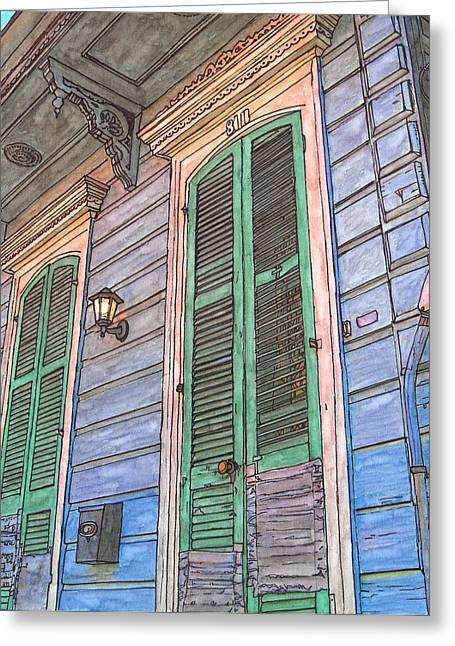French Doors Greeting Cards - French Quarter Shutters 368 Greeting Card by John Boles