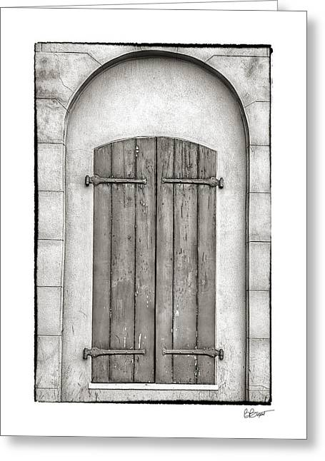 French Quarter Doors Greeting Cards - French Quarter Shutters in Black and White Greeting Card by Brenda Bryant