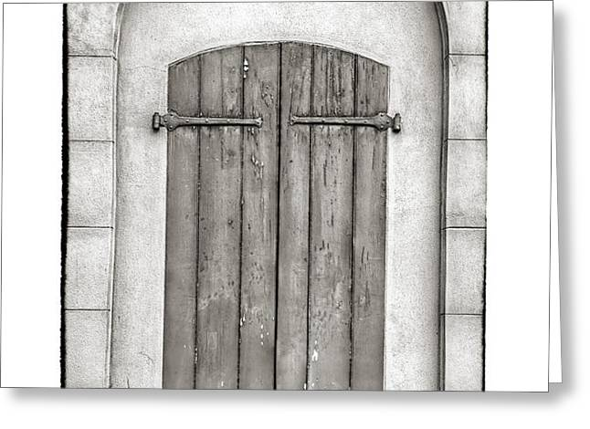 French Quarter Shutters in Black and White Greeting Card by Brenda Bryant