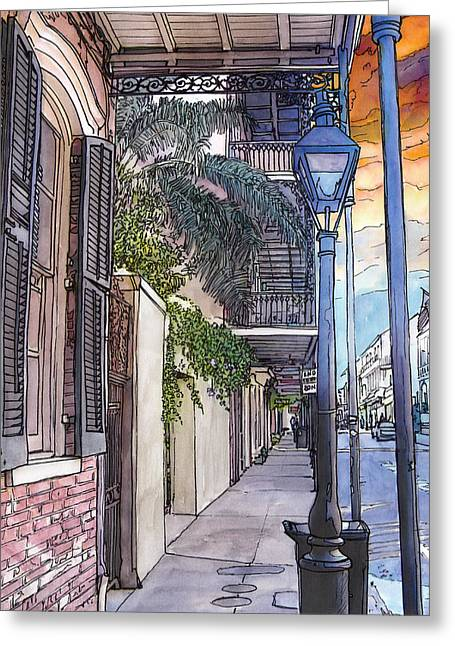 French Door Greeting Cards - French Quarter Sidewalk 443 Greeting Card by John Boles