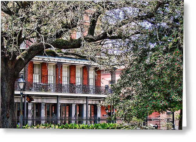 Urban Buildings Greeting Cards - French Quarter Spring Greeting Card by Olivier Le Queinec