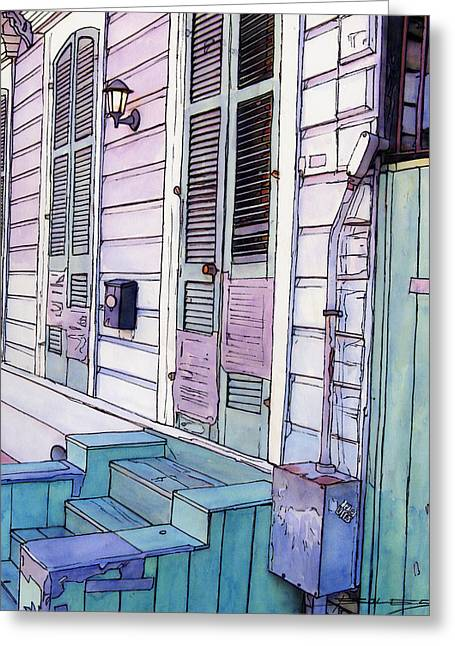 Streetlamp Drawings Greeting Cards - French Quarter Stoop 213 Greeting Card by John Boles