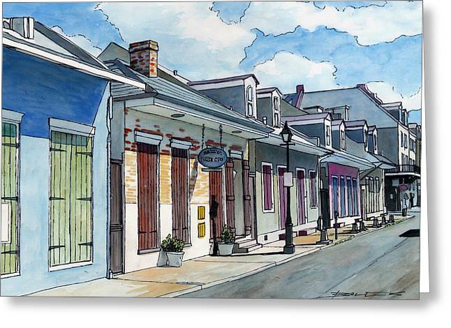 Streetlamp Drawings Greeting Cards - French Quarter Street 211 Greeting Card by John Boles