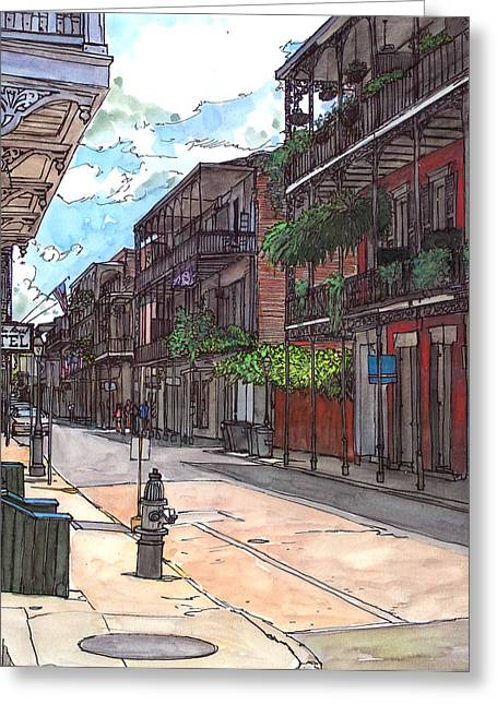 French Quarter Doors Greeting Cards - French Quarter Street 372 Greeting Card by John Boles