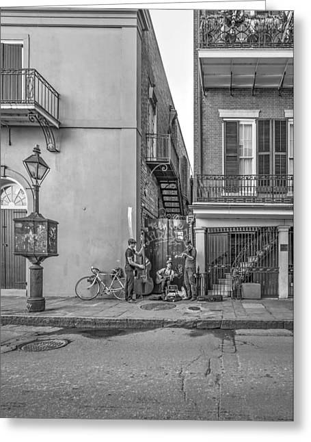 Pottier Greeting Cards - French Quarter Trio monochrome  Greeting Card by Steve Harrington