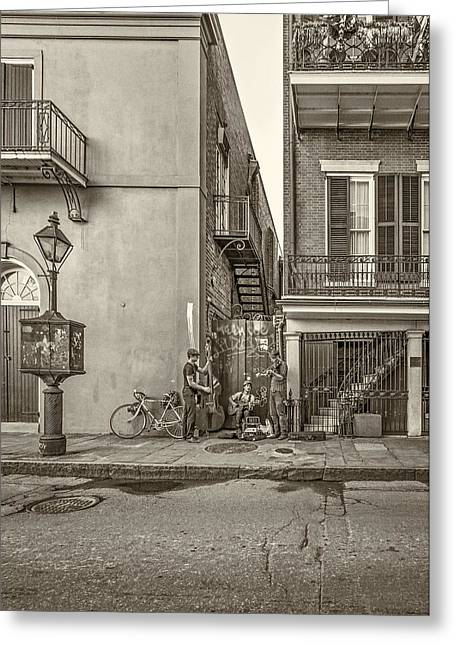 Pottier Greeting Cards - French Quarter Trio sepia Greeting Card by Steve Harrington