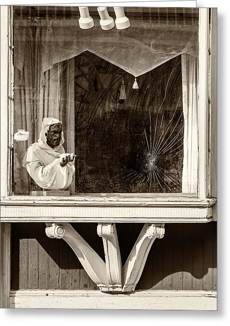 French Quarter Window Display Sepia Greeting Card by Steve Harrington