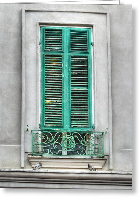 Brenda Bryant Photography Greeting Cards - French Quarter Window in Green Greeting Card by Brenda Bryant