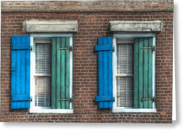 Brenda Bryant Photography Greeting Cards - French Quarter Windows Greeting Card by Brenda Bryant