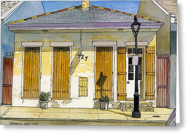 French Quarter Yellow Brick House 367 Greeting Card by John Boles