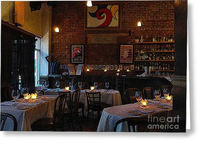Francais Greeting Cards - French Restaurant Ambience Greeting Card by Al Bourassa