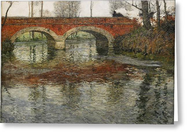 Thaulow Greeting Cards - French river landscape with a stone bridge Greeting Card by Frits Thaulow