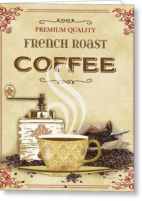 Green Beans Digital Art Greeting Cards - French Roast Coffee-JP2251 Greeting Card by Jean Plout