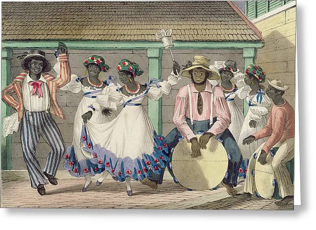 West Indian Greeting Cards - French Set-girls, Plate 7 From Sketches Of Character..., 1838 Colour Litho Greeting Card by Isaac Mendes Belisario