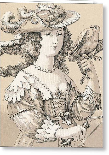 Gloves Drawings Greeting Cards - French Seventeenth Century Costume Greeting Card by French School