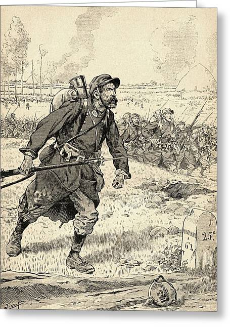 Wwi Photographs Greeting Cards - French Soldier Advances During The First Battle Of The Marne, France, 1914, During World War One Greeting Card by Bridgeman Images
