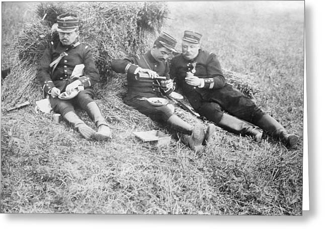 French Soldiers At Lunch Greeting Card by Library Of Congress