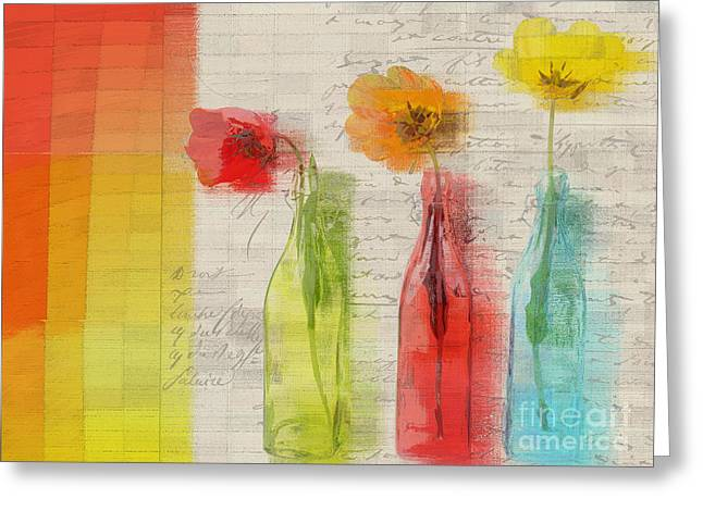 Flower Still Life Mixed Media Greeting Cards - French Still Life - 02bt2-j039027088 Greeting Card by Variance Collections
