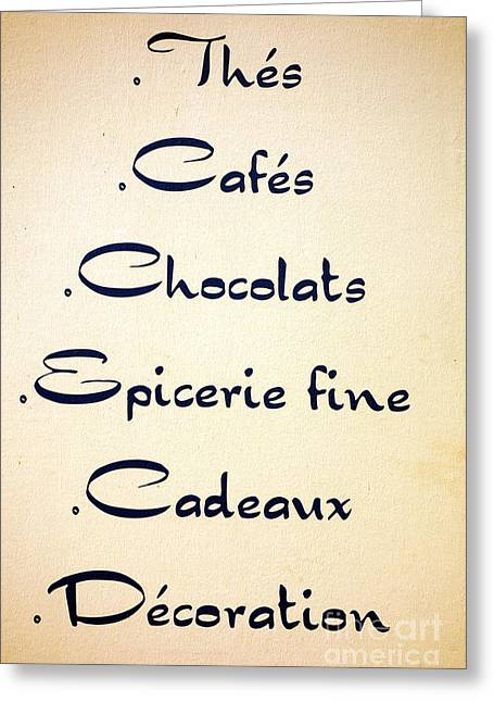 French Signs Greeting Cards - French Store Sign Greeting Card by Olivier Le Queinec