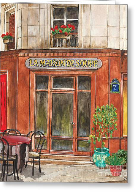 City Buildings Paintings Greeting Cards - French Storefront 1 Greeting Card by Debbie DeWitt