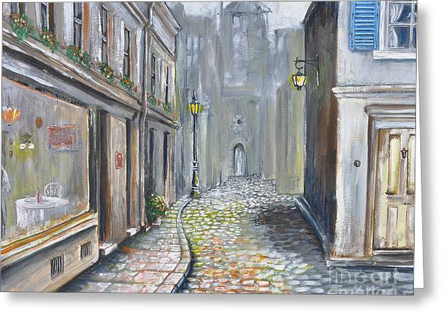 French Doors Greeting Cards - French street scene - Original Artwork Greeting Card by Paul Cummings