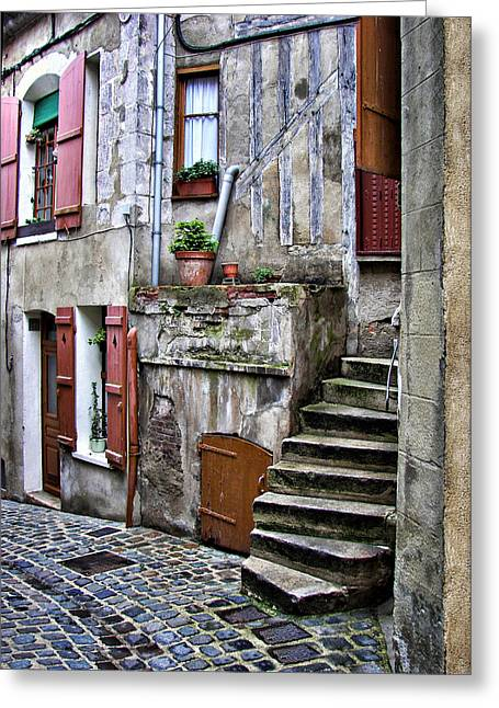 French Doors Greeting Cards - French Street - Steps - Joigny Greeting Card by Nikolyn McDonald