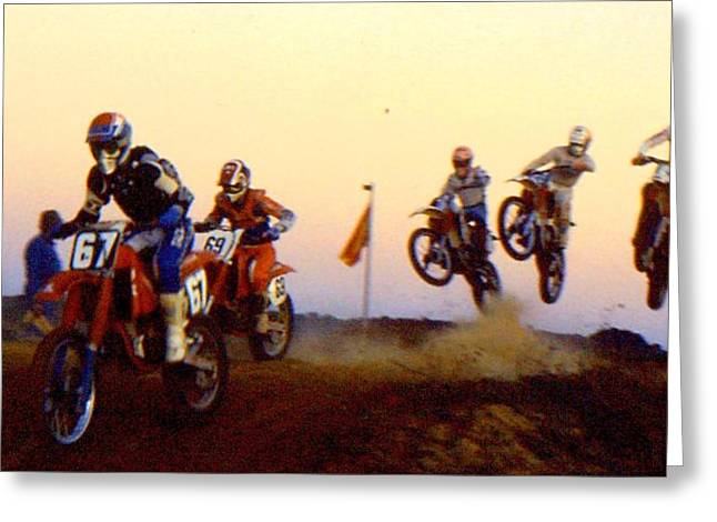 Supercross Greeting Cards - French supercross 88 Greeting Card by Guy Pettingell