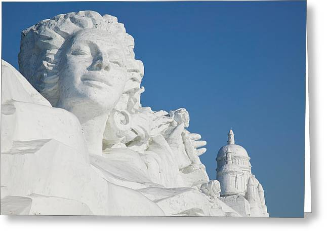 Sculpture Art Greeting Cards - French Themed Snow Sculpture By Frozen Greeting Card by Panoramic Images