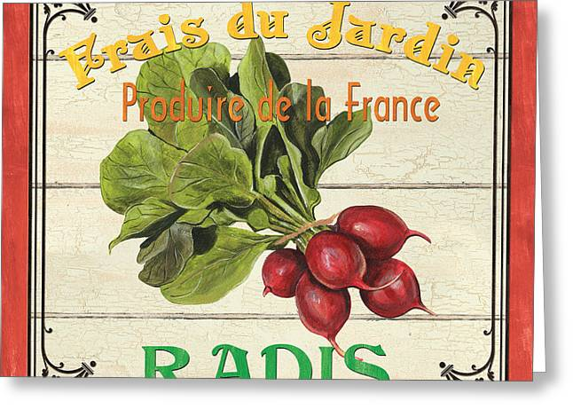Homes Greeting Cards - French Vegetable Sign 1 Greeting Card by Debbie DeWitt