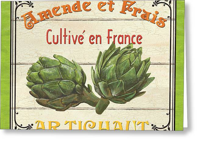 Message Greeting Cards - French Vegetable Sign 2 Greeting Card by Debbie DeWitt