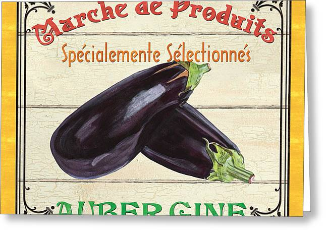 Label Greeting Cards - French Vegetable Sign 3 Greeting Card by Debbie DeWitt