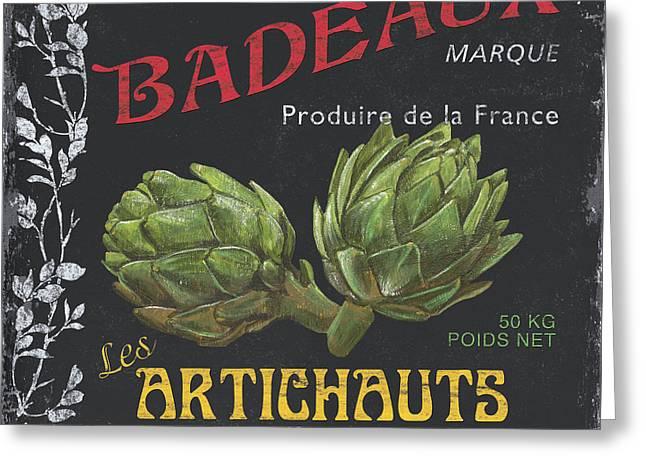 French Veggie Labels 1 Greeting Card by Debbie DeWitt