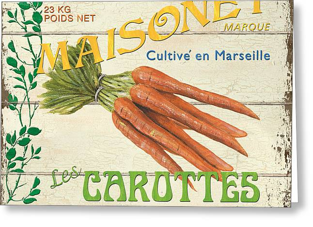 Plank Greeting Cards - French Veggie Sign 2 Greeting Card by Debbie DeWitt